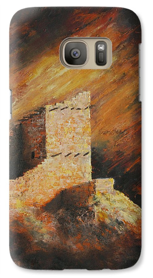 Anasazi Galaxy S7 Case featuring the painting Mummy Cave Ruins 2 by Jerry McElroy