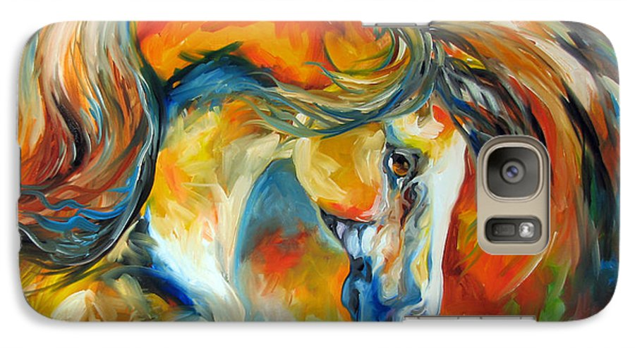Equine Galaxy S7 Case featuring the painting Mustang West by Marcia Baldwin