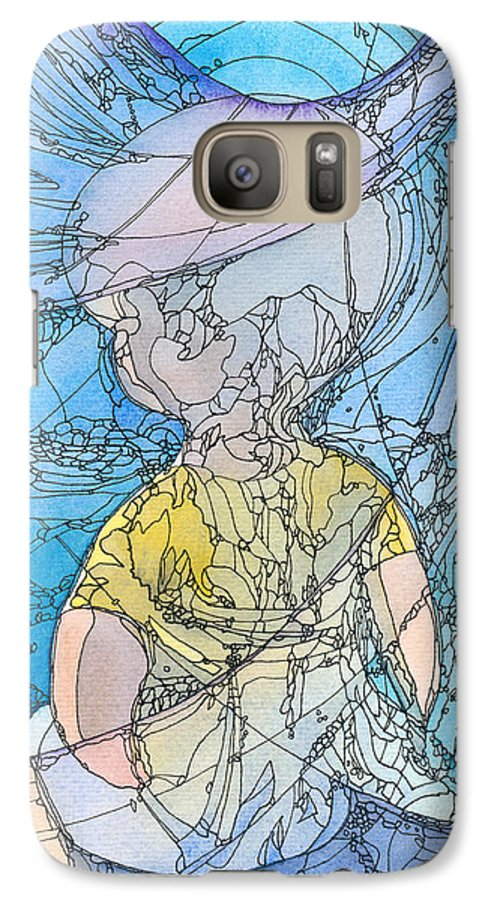 Small Galaxy S7 Case featuring the painting My Little Blue by Christina Rahm Galanis