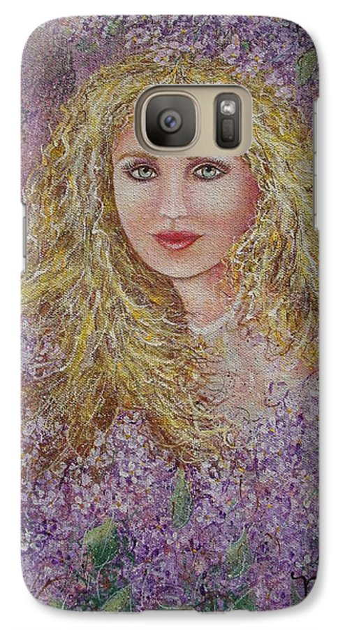 Portrait Galaxy S7 Case featuring the painting Natalie In Lilacs by Natalie Holland