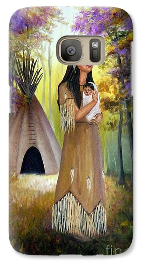 Native American Galaxy S7 Case featuring the painting Native American Mother And Child by Lora Duguay