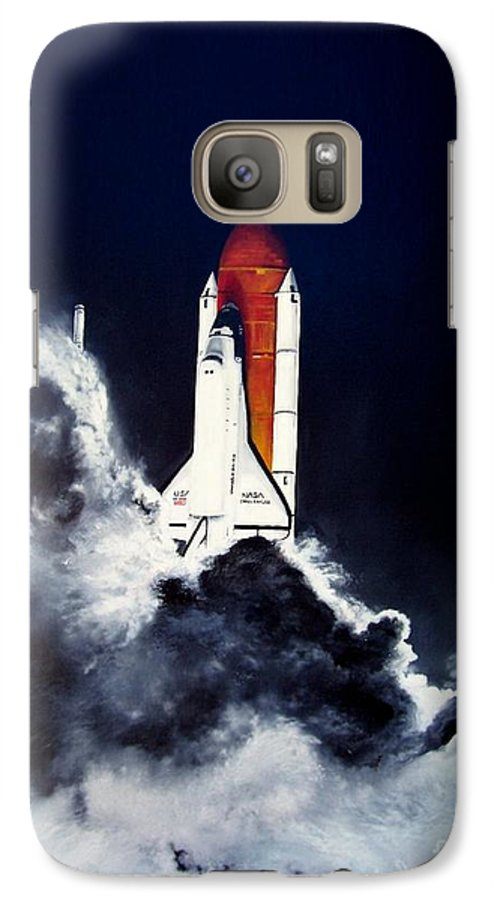 Oil Galaxy S7 Case featuring the painting Night Launch by Murphy Elliott