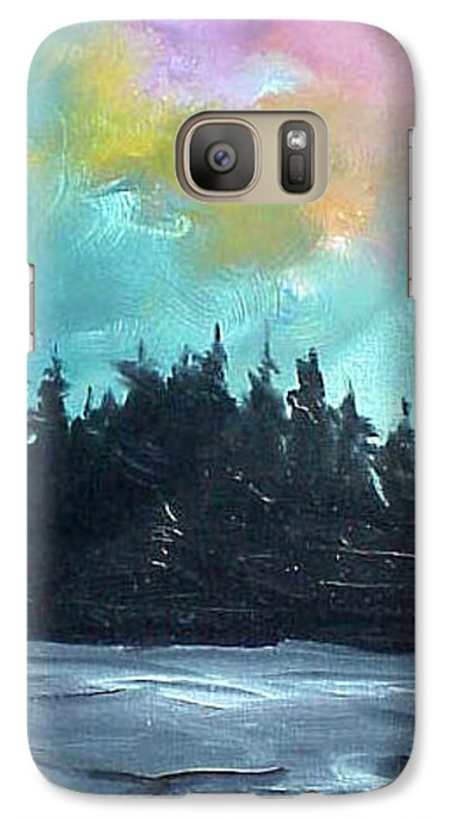 Landscape Galaxy S7 Case featuring the painting Night River by Sergey Bezhinets
