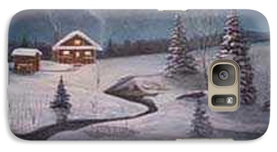 Rick Huotari Galaxy S7 Case featuring the painting North Woods Cabin by Rick Huotari