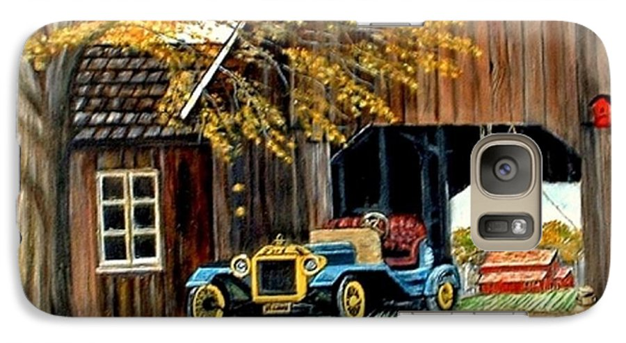 Old Barn Car Galaxy S7 Case featuring the painting Old Barn And Old Car by Kenneth LePoidevin