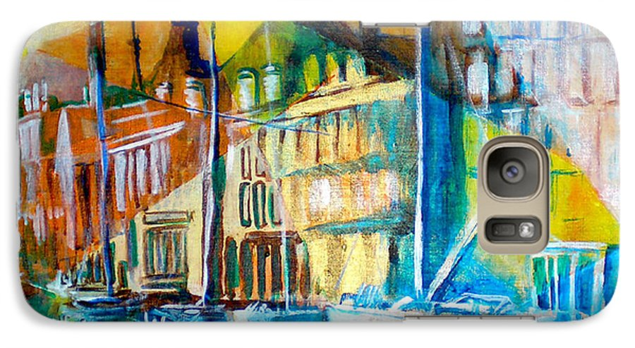Old World Street Galaxy S7 Case featuring the painting Old Copenhagen Thru Stained Glass by Seth Weaver