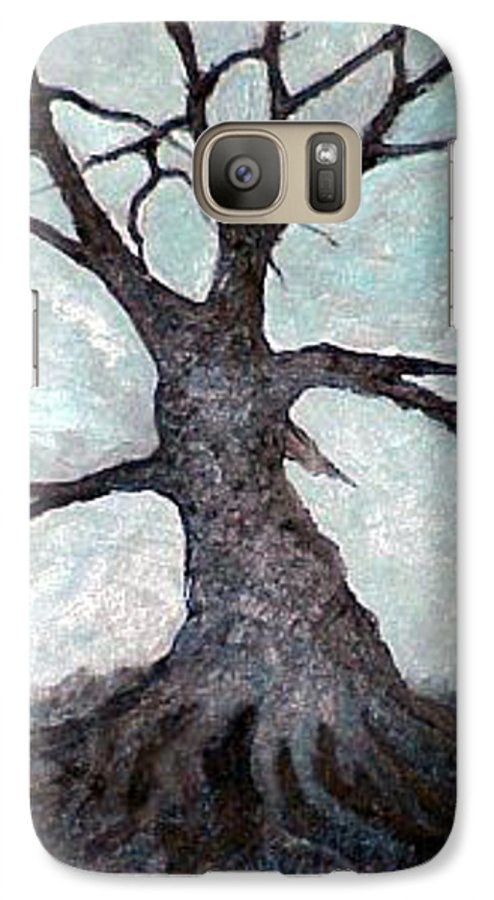 Landscape Galaxy S7 Case featuring the painting Old Tree by Sergey Bezhinets