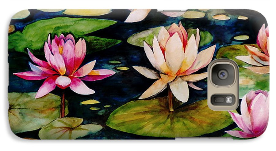 Lily Galaxy S7 Case featuring the painting On Lily Pond by Jun Jamosmos