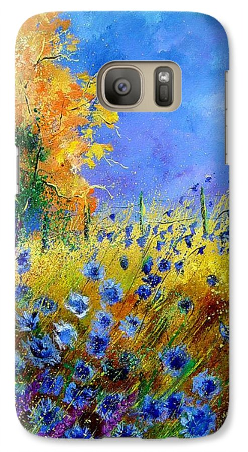Poppies Galaxy S7 Case featuring the painting Orange Tree And Blue Cornflowers by Pol Ledent