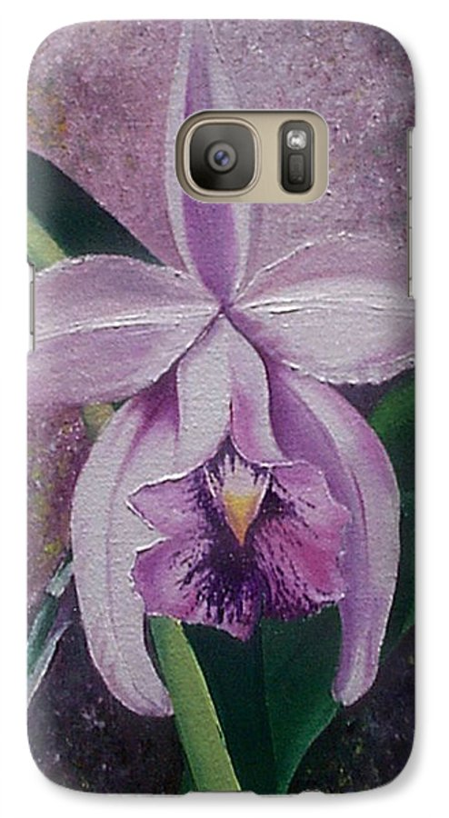 Orchid Purple Floral Botanical Galaxy S7 Case featuring the painting Orchid Lalia by Karin Dawn Kelshall- Best