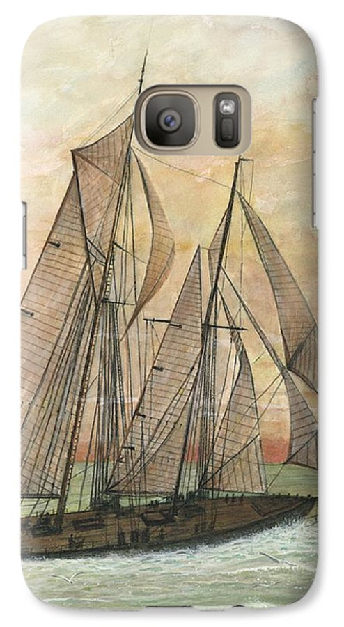 Sailboat; Ocean; Sunset Galaxy S7 Case featuring the painting Out To Sea by Ben Kiger