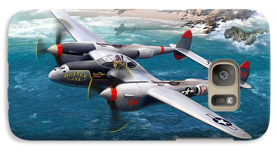 Airplanes Galaxy S7 Case featuring the painting P-38 Lightning Battle Axe by Mark Karvon