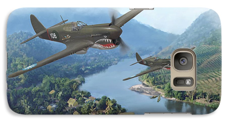 Airplanes Galaxy S7 Case featuring the painting P-40 Warhawks Of The 23rd Fg by Mark Karvon