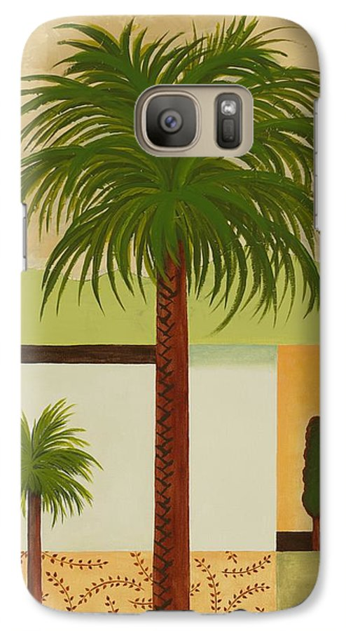 Palm Trees Galaxy S7 Case featuring the painting Palm Desert by Carol Sabo
