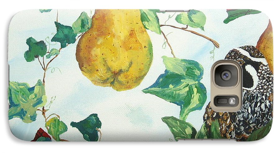 Tree Galaxy S7 Case featuring the painting Partridge And Pears by Reina Resto