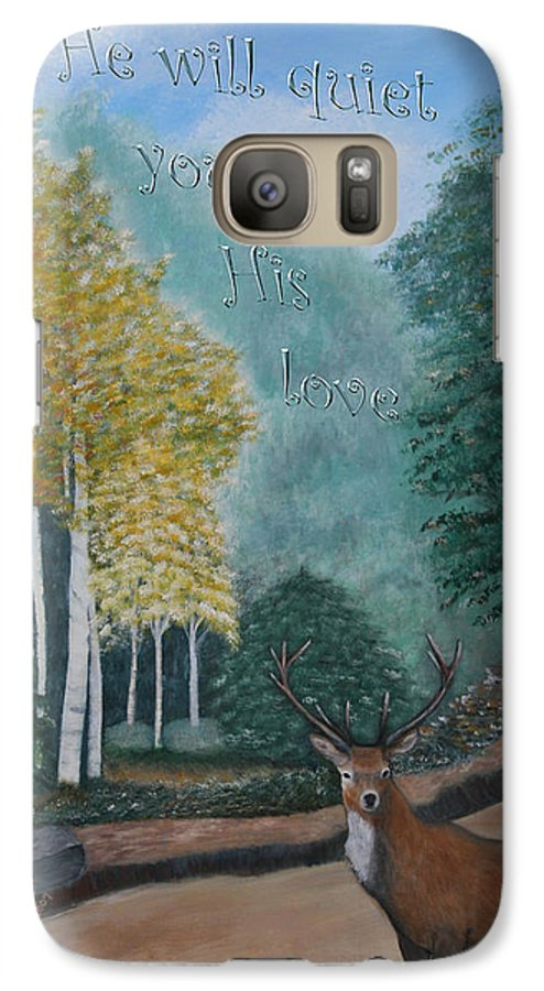 Landscape Galaxy S7 Case featuring the painting Peaceful Walk by Mary Grabill