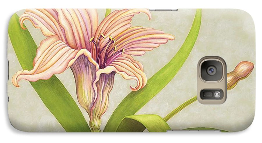 Soft Peach Lily In A Pose Galaxy S7 Case featuring the painting Peach Lily by Carol Sabo