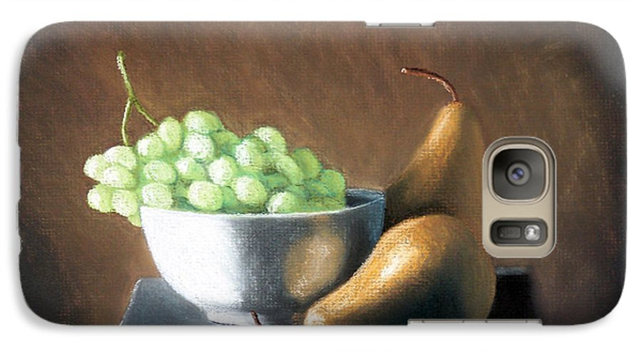 Pastel Galaxy S7 Case featuring the painting Pears And Grapes by Joseph Ogle