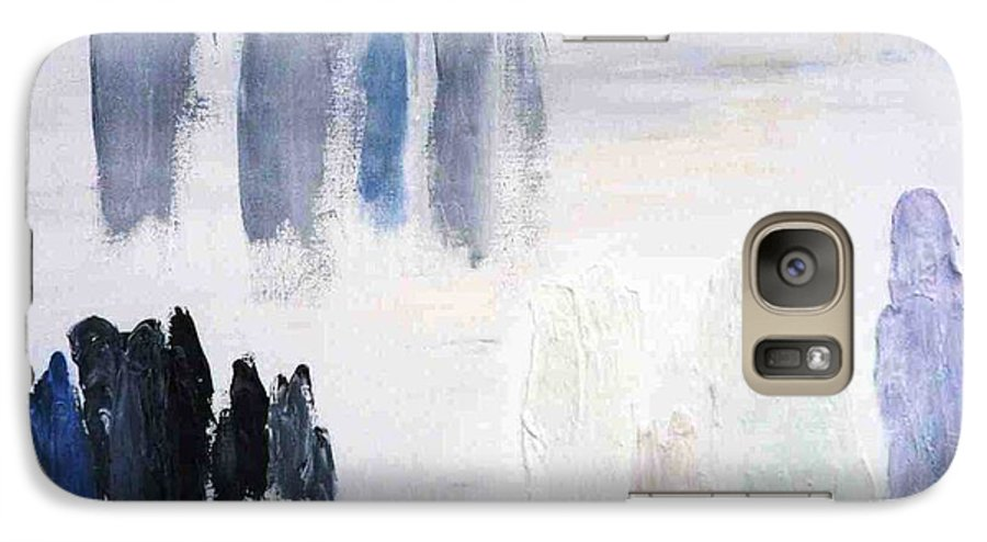 White Landscape Galaxy S7 Case featuring the painting People Come And They Go by Bruce Combs - REACH BEYOND