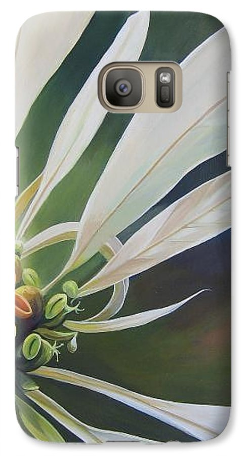 White Poinsettia Galaxy S7 Case featuring the painting Phenomenal World by Hunter Jay