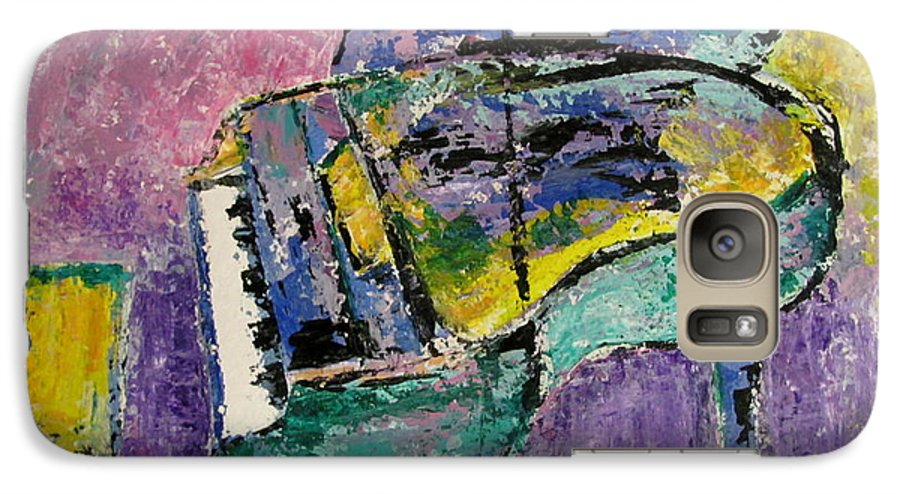 Impressionist Galaxy S7 Case featuring the painting Piano Green by Anita Burgermeister