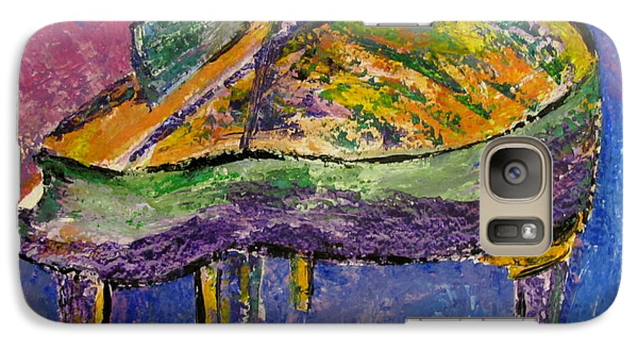 Impressionist Galaxy S7 Case featuring the painting Piano Purple by Anita Burgermeister