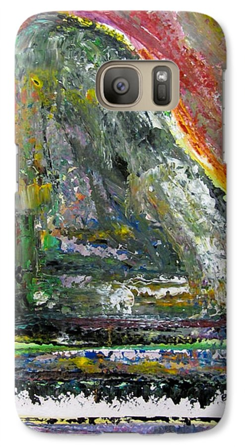 Impressionist Galaxy S7 Case featuring the painting Piano Red by Anita Burgermeister
