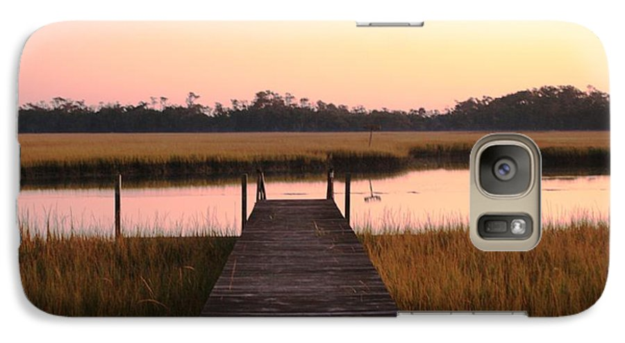 Pink Galaxy S7 Case featuring the photograph Pink And Orange Morning On The Marsh by Nadine Rippelmeyer