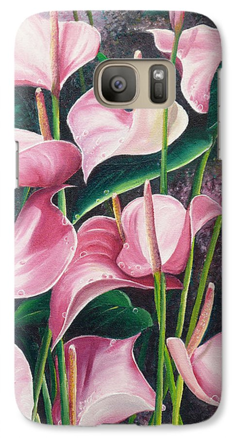 Floral Flowers Lilies Pink Galaxy S7 Case featuring the painting Pink Anthuriums by Karin Dawn Kelshall- Best
