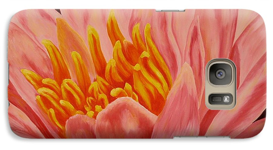 Oil Galaxy S7 Case featuring the painting Pink Waterlily by Darla Brock