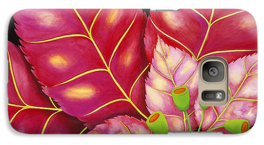 Acrylic Galaxy S7 Case featuring the painting Poinsettia by Carol Sabo