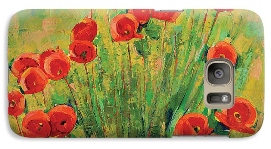 Poppies Galaxy S7 Case featuring the painting Poppies by Iliyan Bozhanov