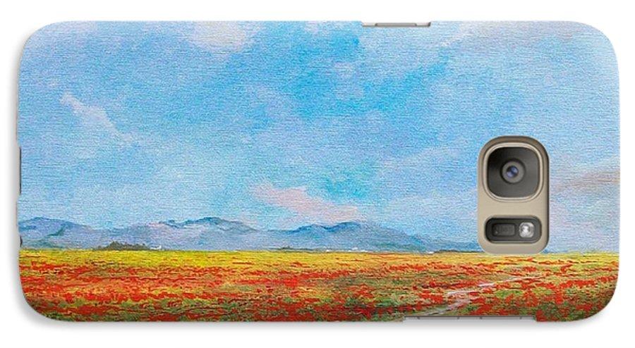 Poppy Field Galaxy S7 Case featuring the painting Poppy Field by Sinisa Saratlic