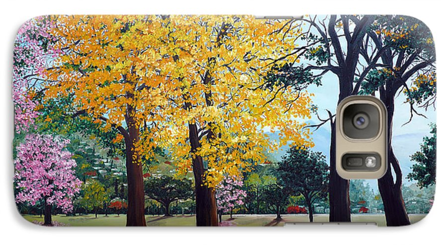 Tree Painting Landscape Painting Caribbean Painting Poui Tree Yellow Blossoms Trinidad Queens Park Savannah Port Of Spain Trinidad And Tobago Painting Savannah Tropical Painting Galaxy S7 Case featuring the painting Poui Trees In The Savannah by Karin Dawn Kelshall- Best
