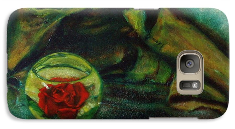 Still Life Galaxy S7 Case featuring the painting Preserved Rose . . Draped Canvas by Sean Connolly
