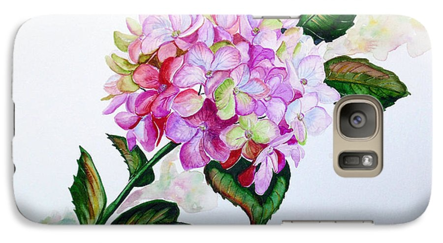 Hydrangea Painting Floral Painting Flower Pink Hydrangea Painting Botanical Painting Flower Painting Botanical Painting Greeting Card Painting Painting Galaxy S7 Case featuring the painting Pretty In Pink by Karin Dawn Kelshall- Best