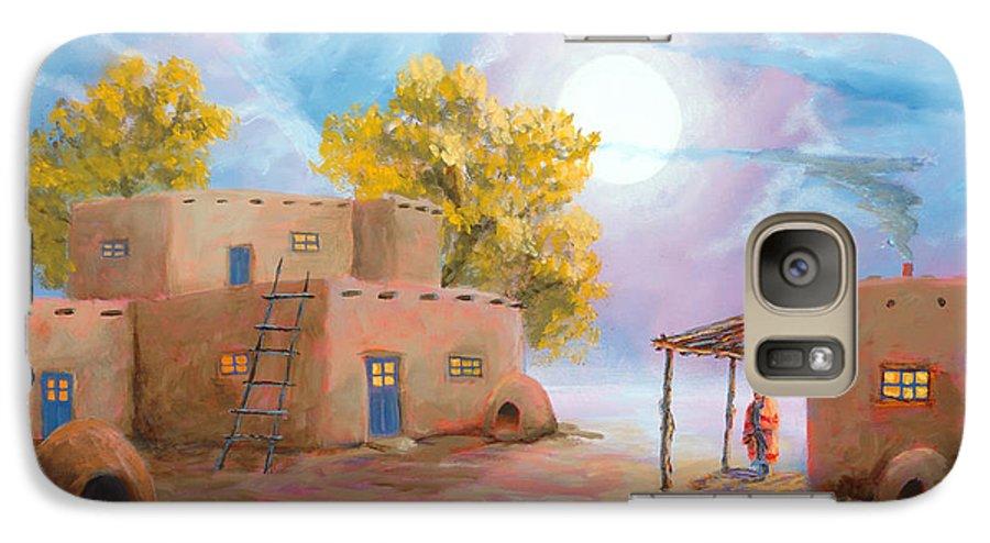Pueblo Galaxy S7 Case featuring the painting Pueblo De Las Lunas by Jerry McElroy