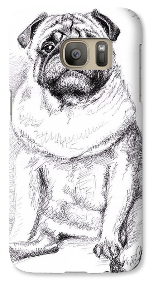 Dog Galaxy S7 Case featuring the drawing Pug Anton by Nicole Zeug