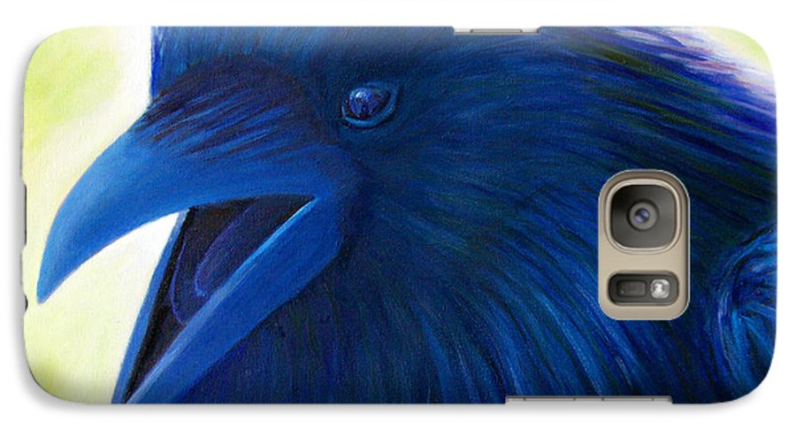 Raven Galaxy S7 Case featuring the painting Raaawk by Brian Commerford