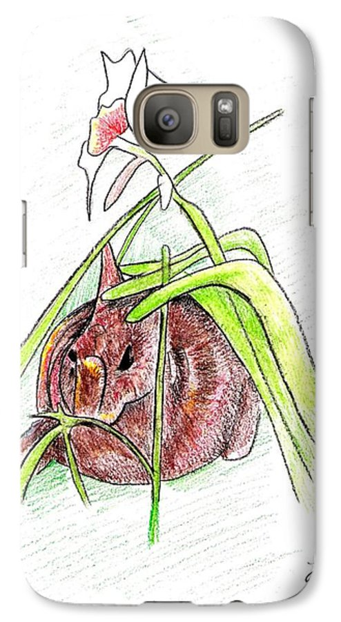 Rabbit Galaxy S7 Case featuring the drawing Rabbit by Loretta Nash