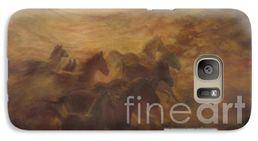 Horse Galaxy S7 Case featuring the painting Racing The Wind by Wendy Froshay