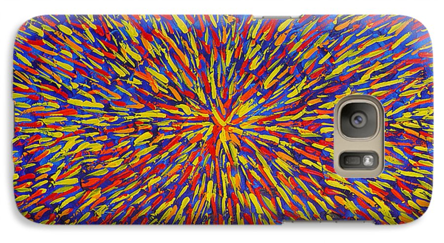 Abstract Galaxy S7 Case featuring the painting Radiation Blue by Dean Triolo