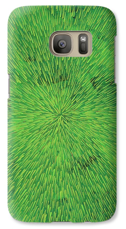 Abstract Galaxy S7 Case featuring the painting Radiation Green by Dean Triolo