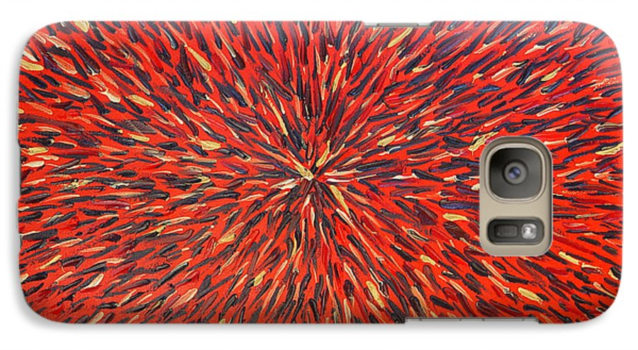 Abstract Galaxy S7 Case featuring the painting Radiation Red by Dean Triolo