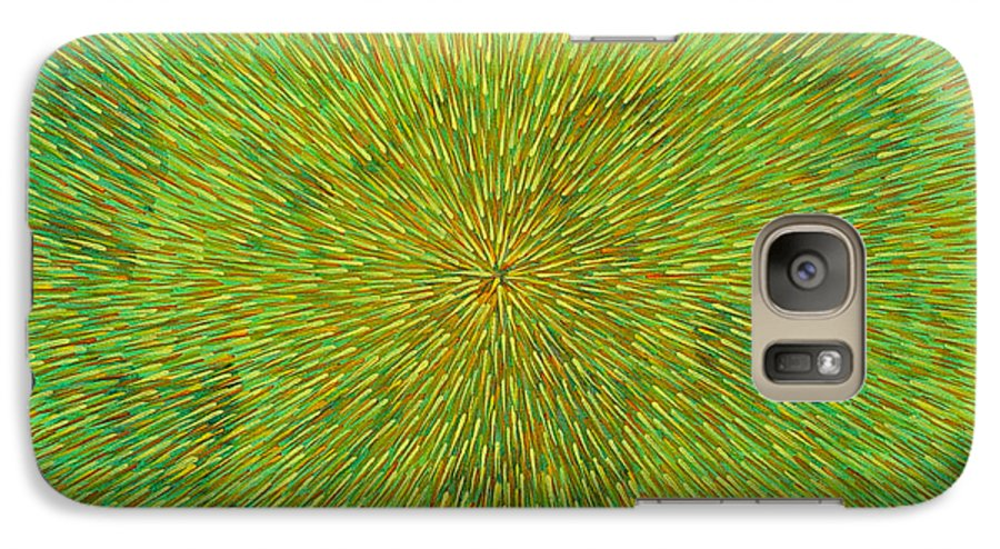 Abstract Galaxy S7 Case featuring the painting Radiation With Green Yellow And Orange by Dean Triolo