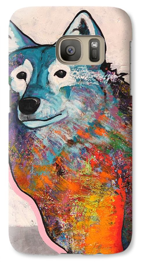 Animal Galaxy S7 Case featuring the painting Rainbow Warrior - Alfa Wolf by Joe Triano
