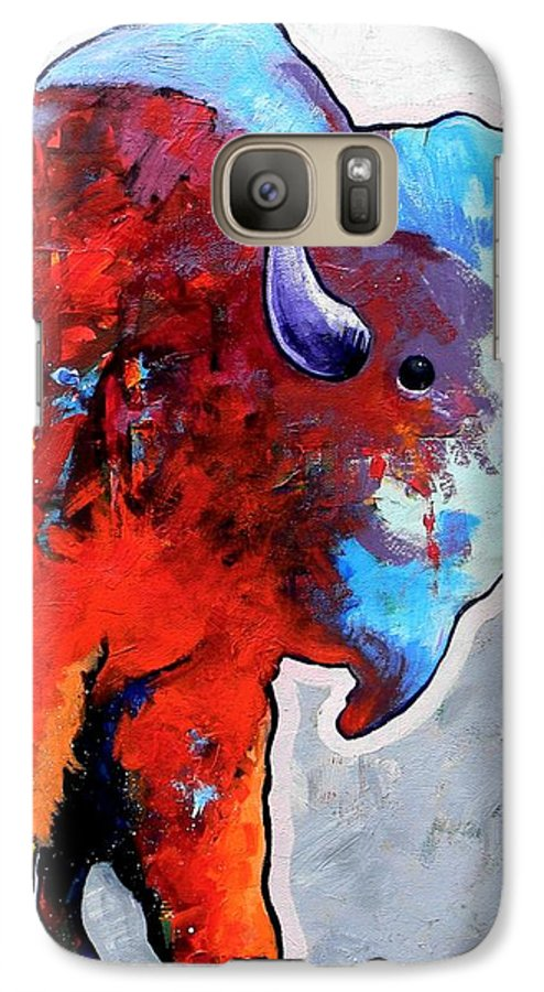 Wildlife Galaxy S7 Case featuring the painting Rainbow Warrior Bison by Joe Triano