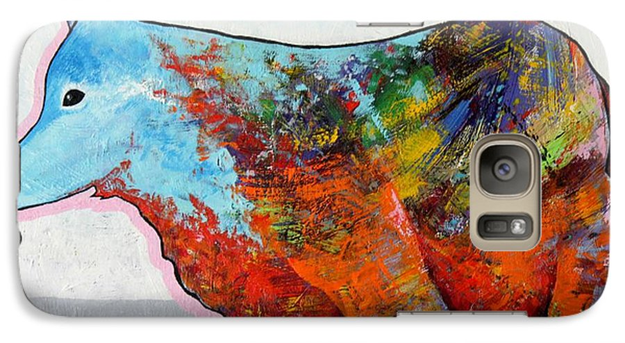 Animal Galaxy S7 Case featuring the painting Rainbow Warrior - Coyote by Joe Triano