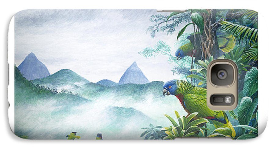 Chris Cox Galaxy S7 Case featuring the painting Rainforest Realm - St. Lucia Parrots by Christopher Cox