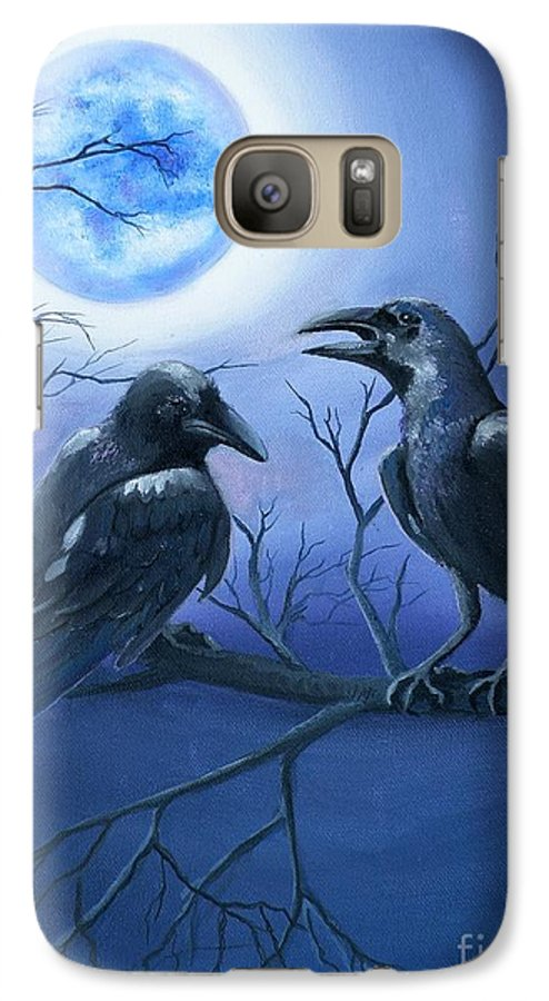 Ravens Galaxy S7 Case featuring the painting Raven's Moon by Lora Duguay